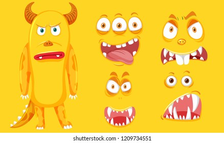 A yellow monster with facial set illustration