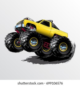 Yellow Monster Truck with Supercharger and KC Lights
