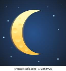 Yellow moon on the night stars sky