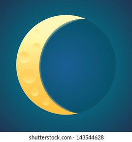 Yellow moon silhouette on the blue background