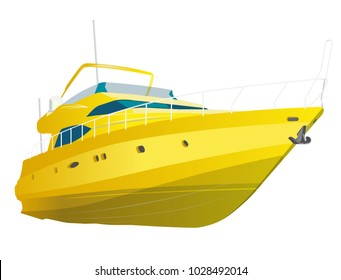 Yellow motor boat. Sea yacht for fishing and leisure time. Luxury expensive motorboat, luxurious powerboat, deluxe speedboat. Vector illustration, isolated on white background.