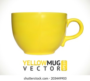 Yellow mug empty blank for coffee or tea isolated on white background. Vector illustration.