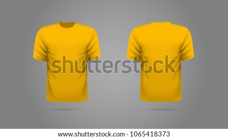 Yellow Mustard T Shirt Template Vector Front And Back View