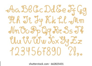 Yellow nautical rope alphabet, hand-drawn vector letters and numbers. Navy vector letter on white background. Yacht tackle alphabet. Uppercase and lowercase rope letter. Marine typeface. Nautical type