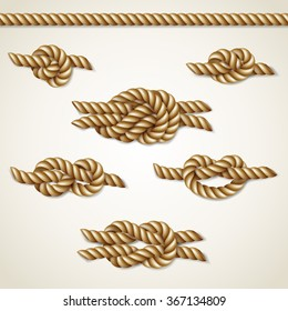 Yellow nautical rope knots set over beige background, vector illustration