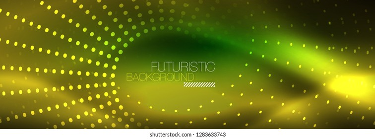 Yellow neon abstract background with dotted circles, blurred shiny glass design
