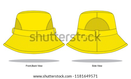 yellow net bucket hat template stock vector royalty free