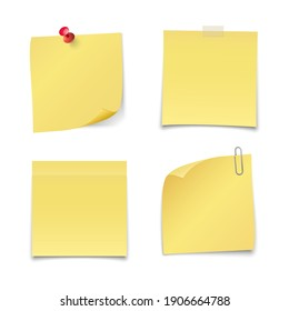Yellow note isolated on white background. Vector illustration.