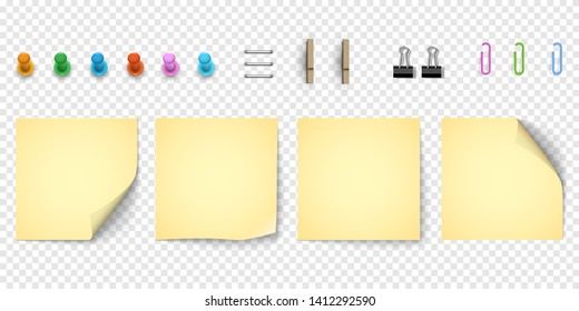 Yellow note paper with curled corner, collection of various elements . Realistic sticky note paper and pinned pushbuttons,paper clips. Isolated background. Front view. - Vector