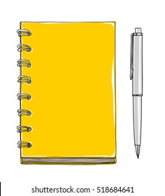 yellow Notebook and pen vector hand drawn cute illustration