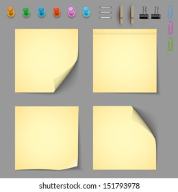 Yellow notice papers with elements for attaching paper. Vector set