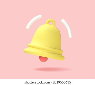 Yellow notification bell is ringing. 3d Vector graphics.