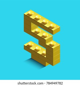yellow number five from constructor lego bricks on blue background. 3d lego number five