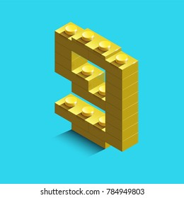 yellow number nine from constructor lego bricks on blue background. 3d lego number nine