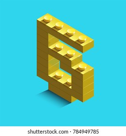 yellow number six from constructor ltgo bricks on blue background. 3d lego number six