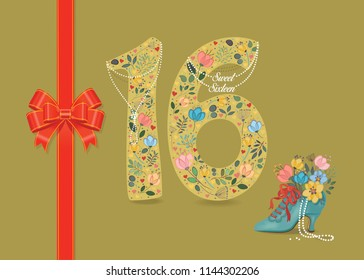 Yellow number Sixteen with folk floral decor. Pearl collar with texts as pendants - Sweet Sixteen. Red satin ribbon with bow. Blue retro shoe with floral bouquet and beads. Vector Illustration