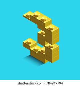yellow number three from constructor lego bricks on blue background. 3d lego number three
