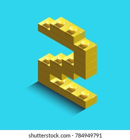 yellow number two from constructor lego bricks on blue background. 3d lego number two