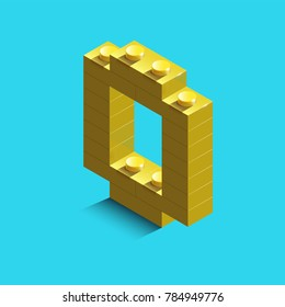 yellow number zero from constructor lego bricks on blue background. 3d lego number zero