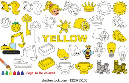 yellow objects color elements set 260nw