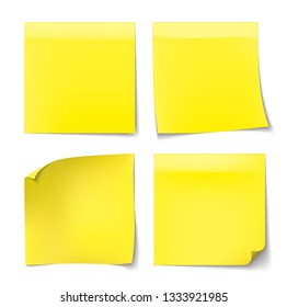 Yellow Office stickers made of paper with shadows
