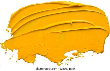 Yellow oil paint brush stroke. EPS 10 vector illustration.