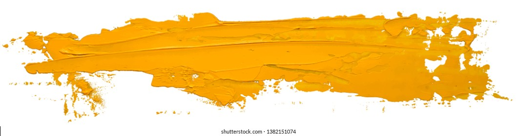Yellow oil texture paint stain brush stroke isolated on white background EPS10 vector illustration.