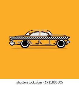 yellow old taxi car illustrations logo design