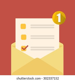 Yellow open envelope with check form and notification. Vector illustration.