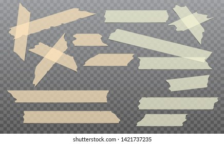 Yellow, orange adhesive, sticky, masking, duct tape strips for text are on black background. Vector illustration
