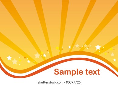 yellow and orange background with stars. vector illustration
