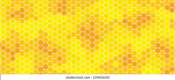 Yellow, orange beehive background. Honeycomb, bees hive cells pattern. Bee honey shapes. Vector geometric seamless texture symbol. Hexagon, hexagonal raster, mosaic cell sign or icon. Gradation color.