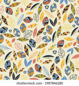 Yellow, orange, blue and black leafy vector repeat background pattern. Perfect for fabric, wallpapers and scrapbooking projects. Warm tone pattern.