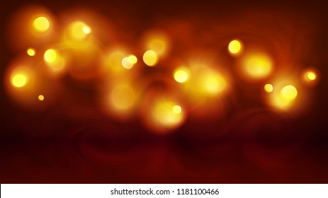 Yellow and orange magic bokeh lights in fog, vector holiday abstract background