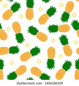 yellow orange pineapple on white background seamless pattern hand drawn cartoon style for wallpaper, banner, label, cover, card, texture etc. vector design.