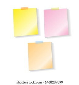 Yellow, orange and pink notes with shadow, pinned adhesive tape, ready for your use. Notice board element. Perfect for back to school or business design theme. Isolated on white background.