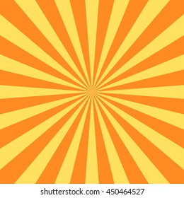 Yellow orange rays poster. Popular ray star burst background television vintage. Dark-light bright abstract texture with sunburst, flare, beam. Retro art design Glow bright pattern Vector Illustration