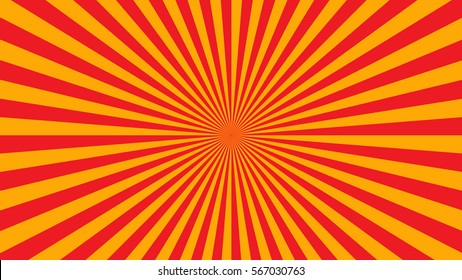 Yellow orange rays poster. Popular ray star burst background television vintage. Dark-light bright abstract texture with sunburst, flare, beam. Retro art design Glow bright pattern Vector Illustration