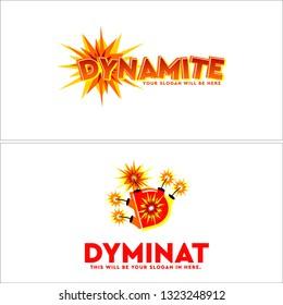 Yellow orange red line art explosion fire dynamite combination mark logo design concept suitable for firecracker even festival party