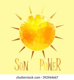 yellow orange sun with triangles solar energy logo