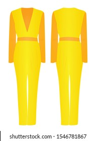 Yellow and orange  woman jumpsuit. vector illustration