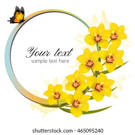Yellow orchids banner with a butterfly. Vector.