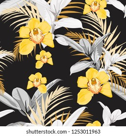 Yellow orchids, exotic ficus and tropical leaves. Seamless pattern. Vector black background.