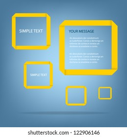 yellow origami paper speech vector background on blue background eps10 for design
