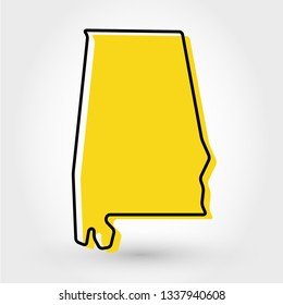 yellow outline map of Alabama, stylized concept