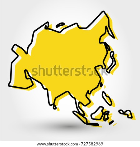 Yellow Outline Map Asia Stylized Concept Stock Vector (Royalty Free ...