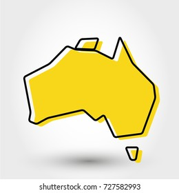 yellow outline map of Australia, stylized concept
