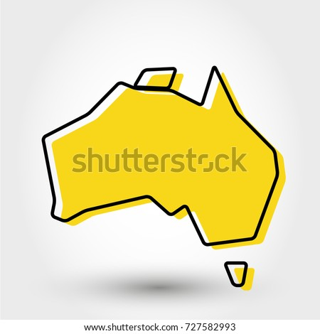 Outline Map Of Australia.Yellow Outline Map Australia Stylized Concept Stock Vector Royalty