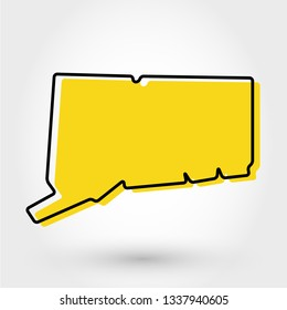 yellow outline map of Connecticut, stylized concept