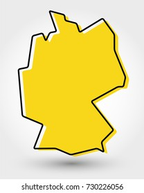 yellow outline map of Germany, stylized concept